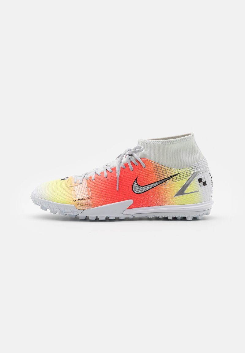 Nike Performance - MERCURIAL 8 ACADEMY MDS TF - Astro turf trainers - white/bright mango