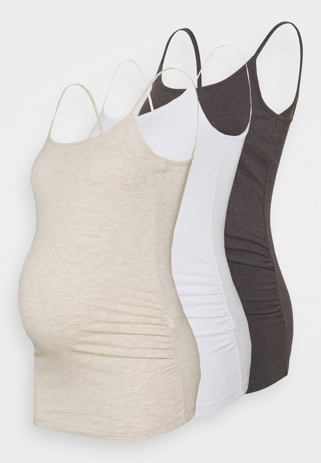 3 PACK - Topper - mottled dark grey/beige/white