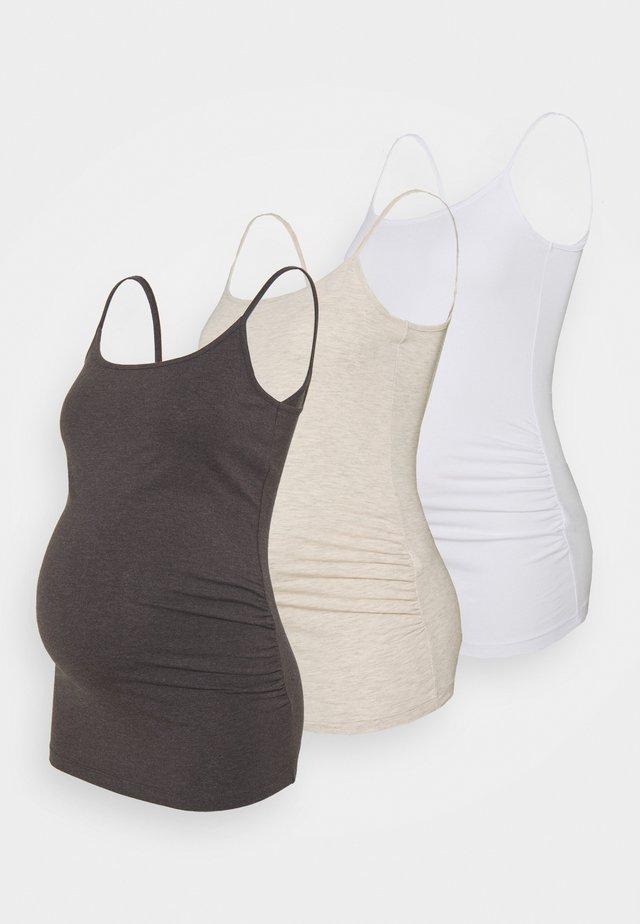 3 PACK - Top - mottled dark grey/beige/white