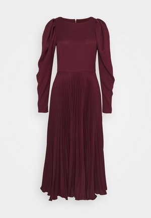 PUFF SHOULDER PLEATED SKIRT DRESS - Day dress - wine