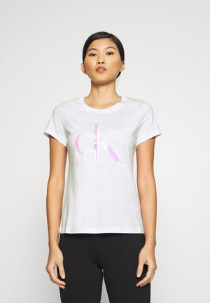 DISTORTED IRIDESCENT TEE - T-shirt z nadrukiem - bright white