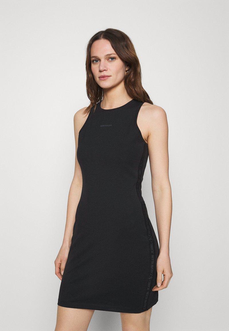 Calvin Klein Jeans - LOGO RACER BACK DRESS - Jersey dress - black
