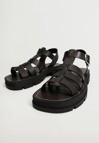 Mango - ROMA - Platform sandals - noir - 1