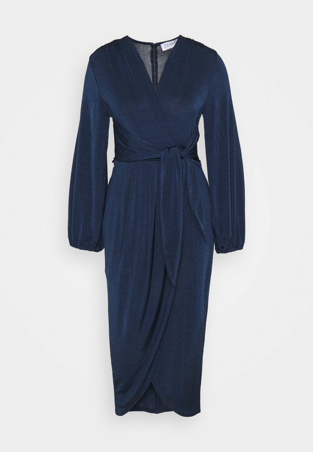 TWIST FRONT LONG SLEEVE DRESS - Day dress - navy