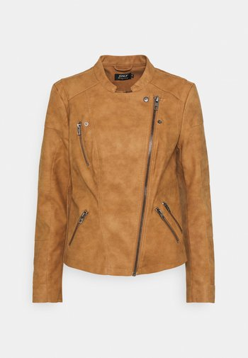 ONLAVA BIKER - Faux leather jacket - toasted coconut