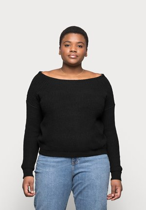 OPHELITA OFF SHOULDER - Strickpullover - black