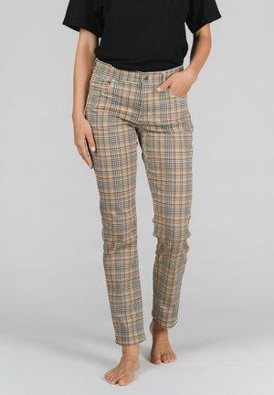 CICI MIT KARIERTEM HAHNENTRITT-MUSTER - Straight leg jeans - braun