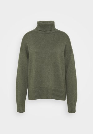 CROP OVERSIZED TNECK - Jumper - forest green