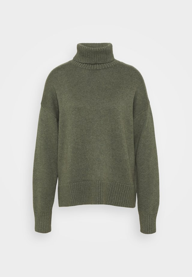 CROP OVERSIZED TNECK - Neule - forest green