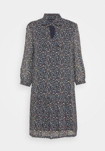 DRESS SHORT FLUENT STYLE RUFFLED NECKLINE PRINTED - Day dress - multi