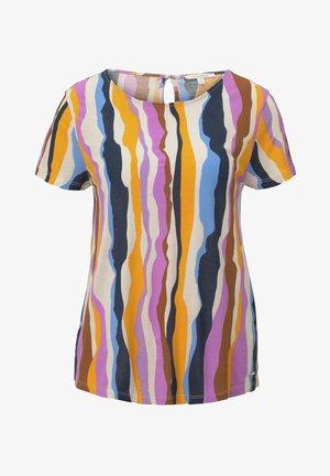 Print T-shirt - wavy multicolor stripes