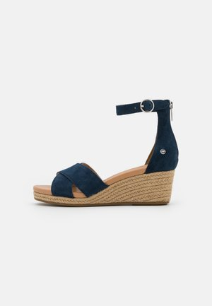 EUGENIA - Wedge sandals - navy
