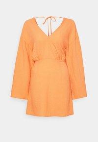 Missguided - TEXTURED PLUNGE FLARE SLEEVE DRESS - Kjole - orange - 3