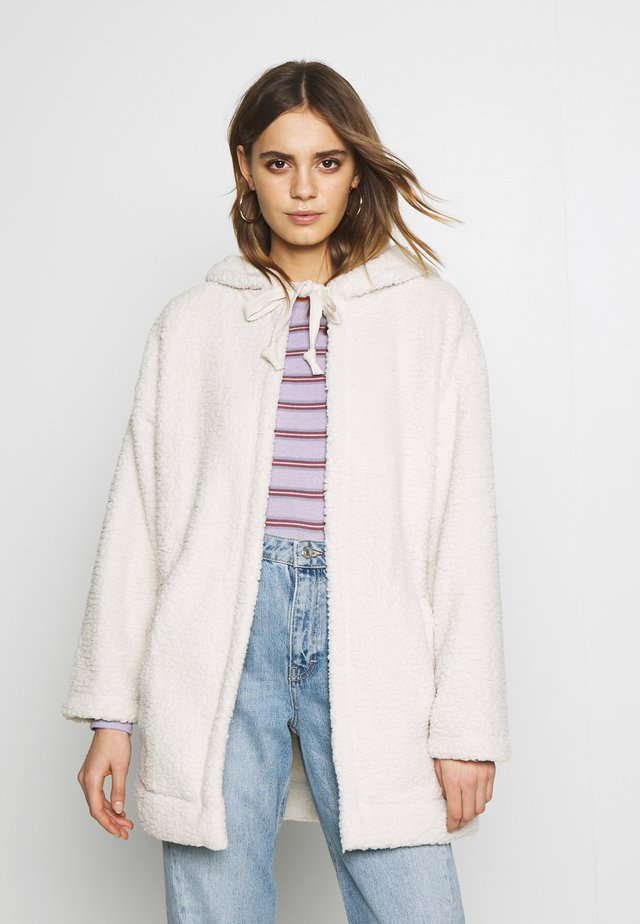 FUZZY HOODED COATIGAN - Light jacket - cream