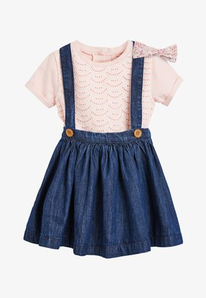 THREE PIECE SET - Jeansrok - mottled blue
