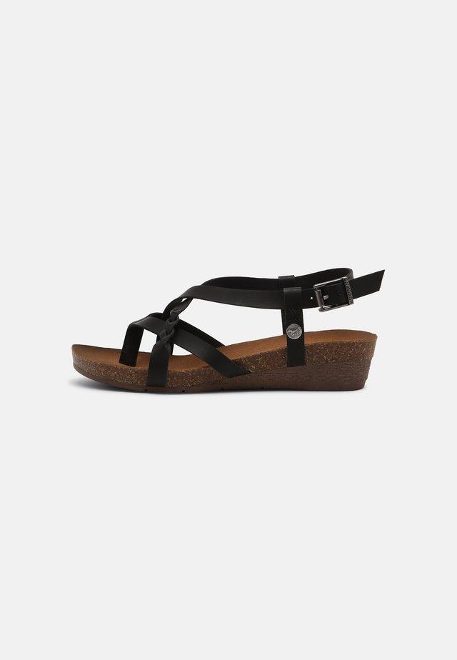 Sandalen met sleehak - schwarz