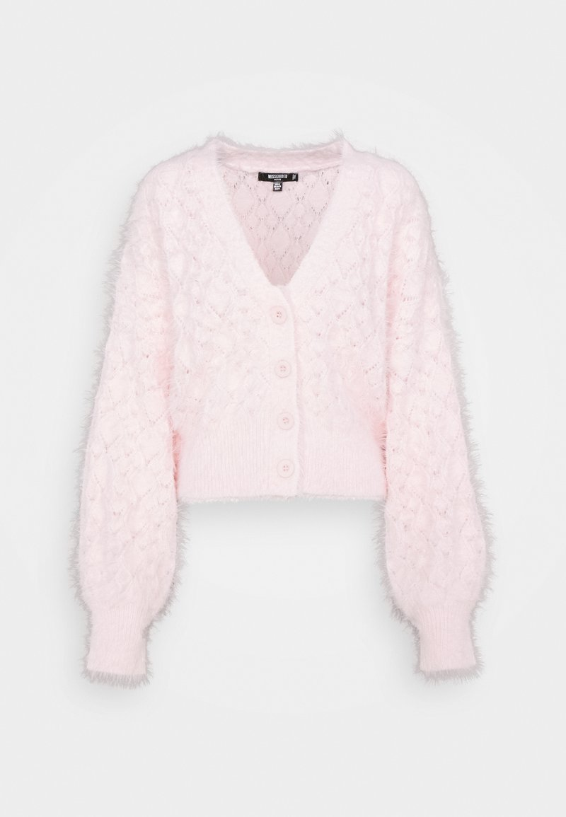 Missguided Petite - FEATHER POINTELLE CARDI - Cardigan - pink