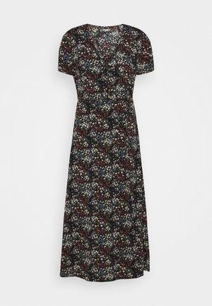 HALF BUTTON MIDI DRESS DITSY - Denní šaty - black