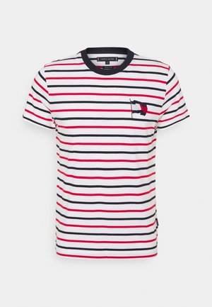 WAVY FLAG STRIPE TEE - T-shirt con stampa - ecru/desert sky/primary red