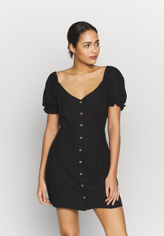 AURORA SHORT SLEEVE MINI DRESS - Sukienka koszulowa - black