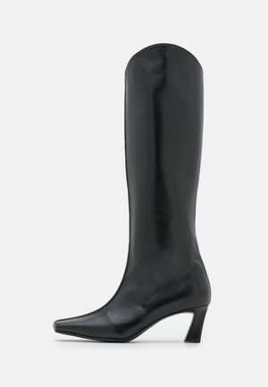 FRONT PIPING LONG BOOTS - Saappaat - black