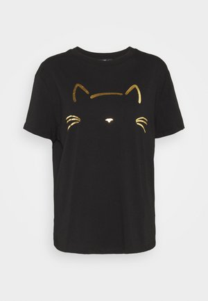 CAT PRINTED TEE - Print T-shirt - black