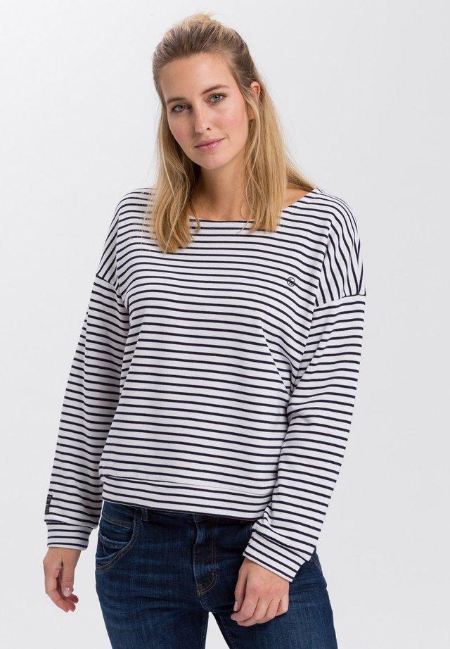 Sweatshirt - ecru-navy