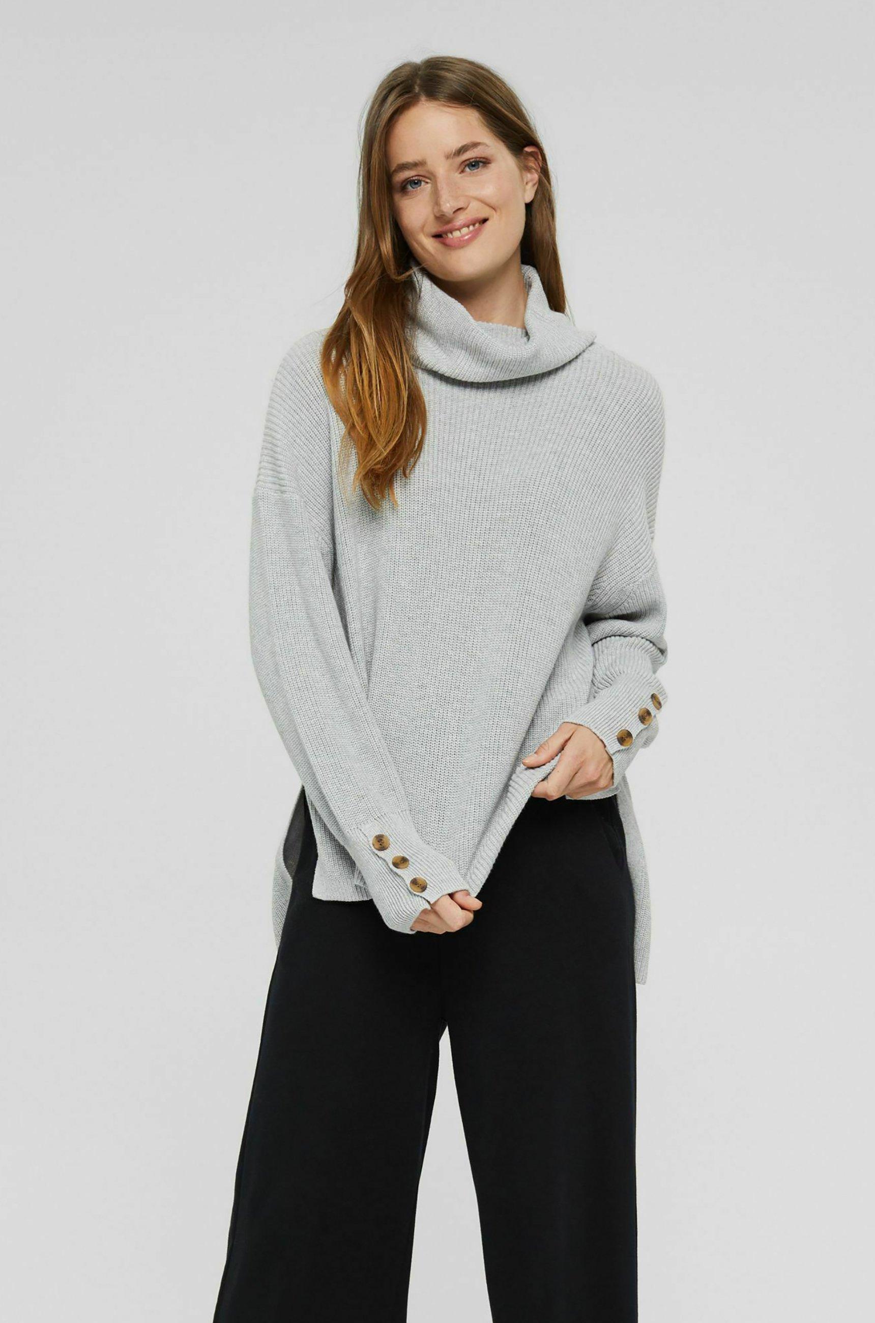 Damen ROLLKRAGEN - Strickpullover - light grey