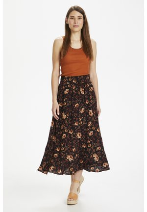SUBIRA - Maxi skirt - wallpaper flower black