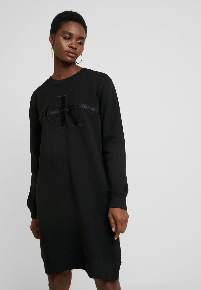 Calvin Klein Jeans - TAPING THROUGH MONOGRAM DRESS - Day dress - black