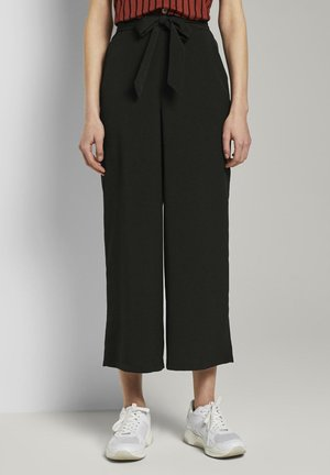 HOSEN & CHINO CULOTTE HOSE MIT BINDEGÜRTEL - Trousers - deep black