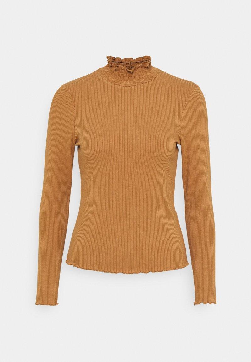 Vero Moda Petite - VMGLADYS HIGHNECK - Langærmede T-shirts - tobacco brown