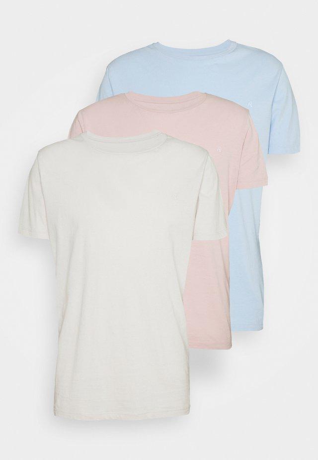 CREW TEE 3 PACK - Basic T-shirt - ice grey/quarz rose/azure pastel