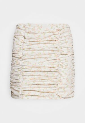 CARE RUCHED - Mini skirt - stone/ditsy
