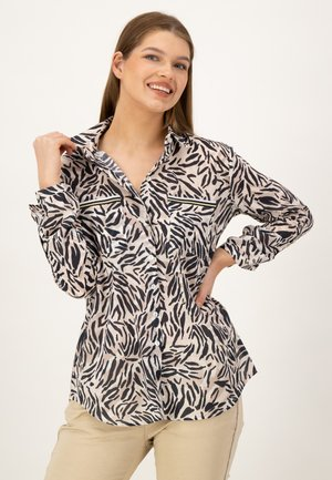 Button-down blouse - taupe druck