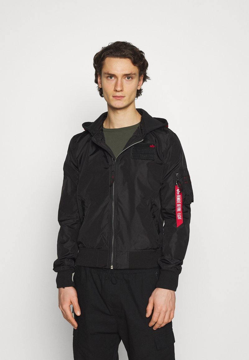 Alpha Industries - HOOD CUSTOM - Bomber Jacket - black/red