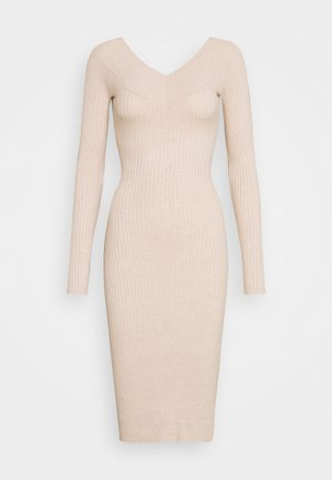 JUMPER DRESS - Pouzdrové šaty - light tan melange
