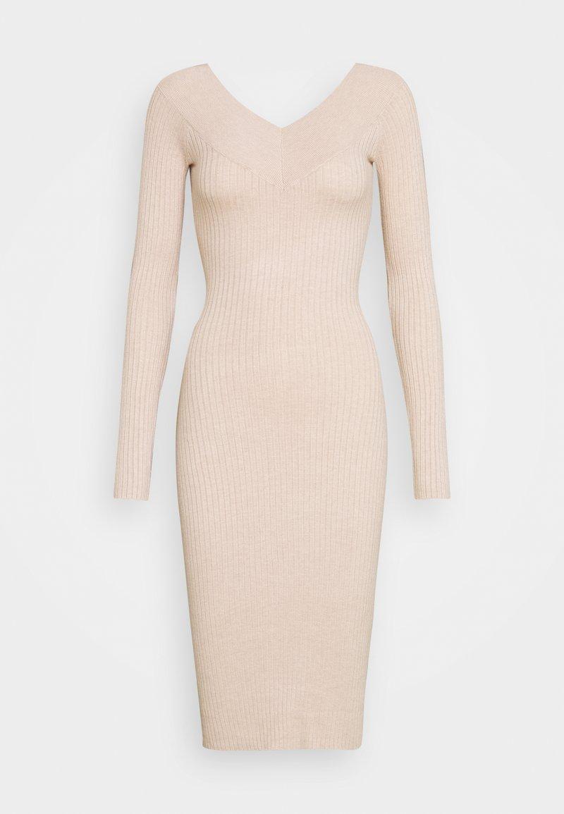 Even&Odd - JUMPER DRESS - Pouzdrové šaty - light tan melange