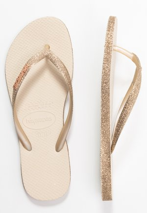 SLIM FIT SPARKLE - T-bar sandals - beige