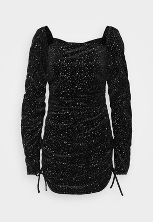 COSTELLO TIE SLEEVE RUCHED GLITTER DRESS - Pouzdrové šaty - black