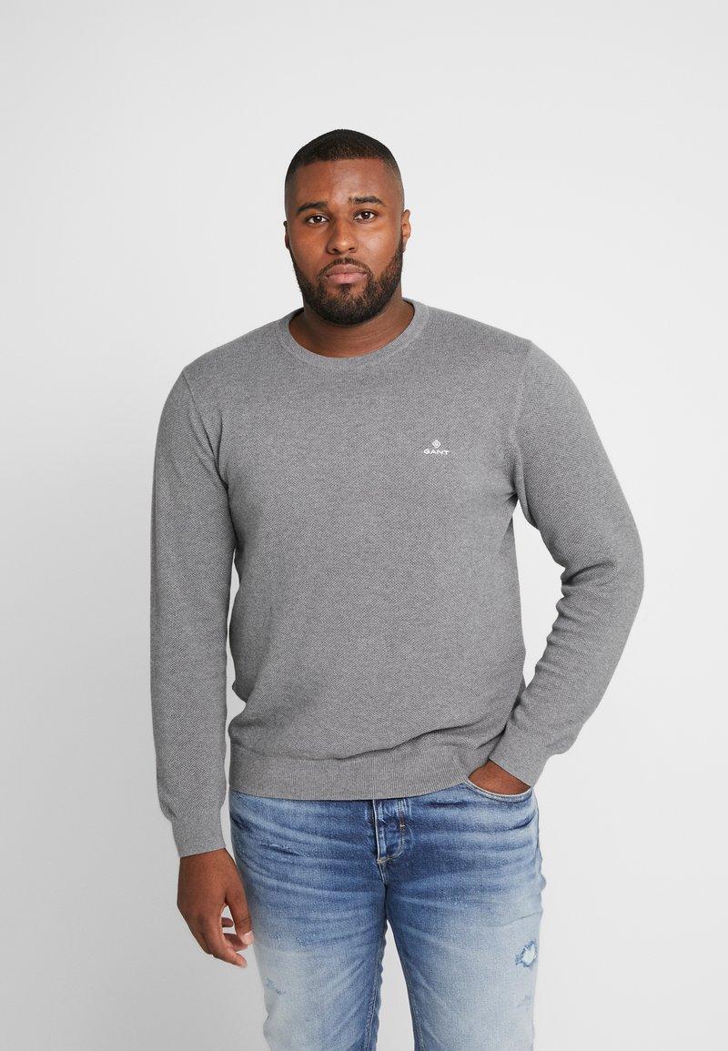GANT - PLUS CREW - Stickad tröja - dark grey melange