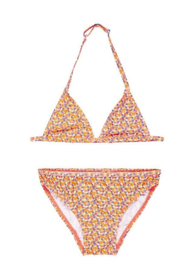 BIKINI GEMUSTERTES TRIANGEL - Bikini - shocking orange