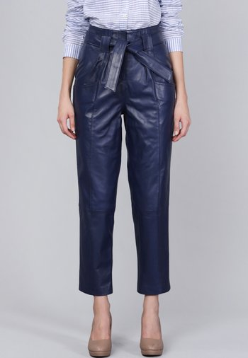 Leather trousers - dark blue