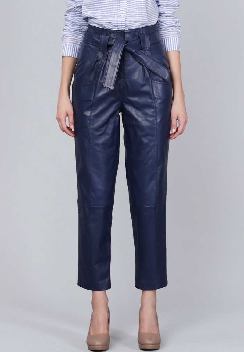 Basics and More - Leather trousers - dark blue