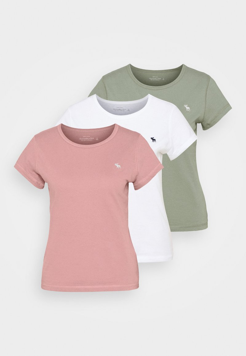 Abercrombie & Fitch - SEASONAL CREW 3 PACK - Jednoduché triko - pink/white/olive