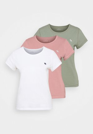 SEASONAL CREW 3 PACK - Basic T-shirt - pink/white/olive