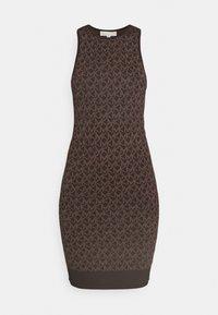 MICHAEL Michael Kors - BOLD  LOGO TANK  - Pletené šaty - chocolate - 4