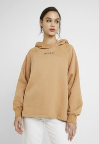 Missguided - LOOPBACK DRAWSTRING HOODY - Jersey con capucha - camel - 0