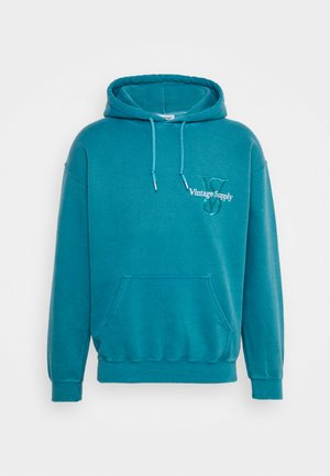 OVERDYED HOODIE WITH EMBROIDERED LOGO UNISEX - Collegepaita - teal