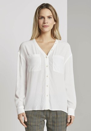 BLOUSE WITH BUTTON DETAILING - Camicetta - whisper white